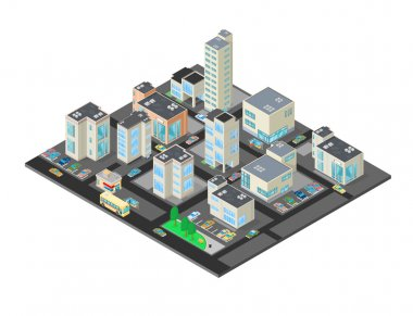 Isometric Downtown Urban City District.