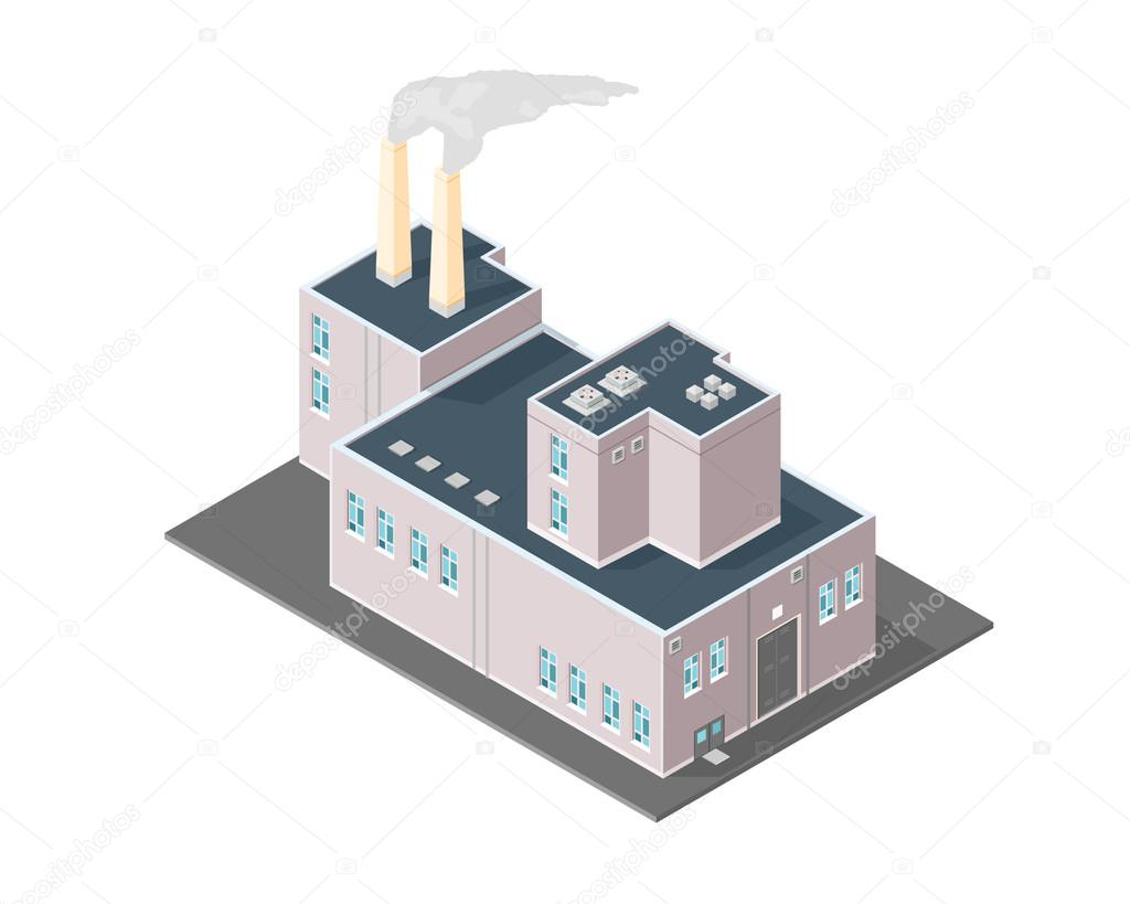 Isometric Factory Power Station Warehouse production.