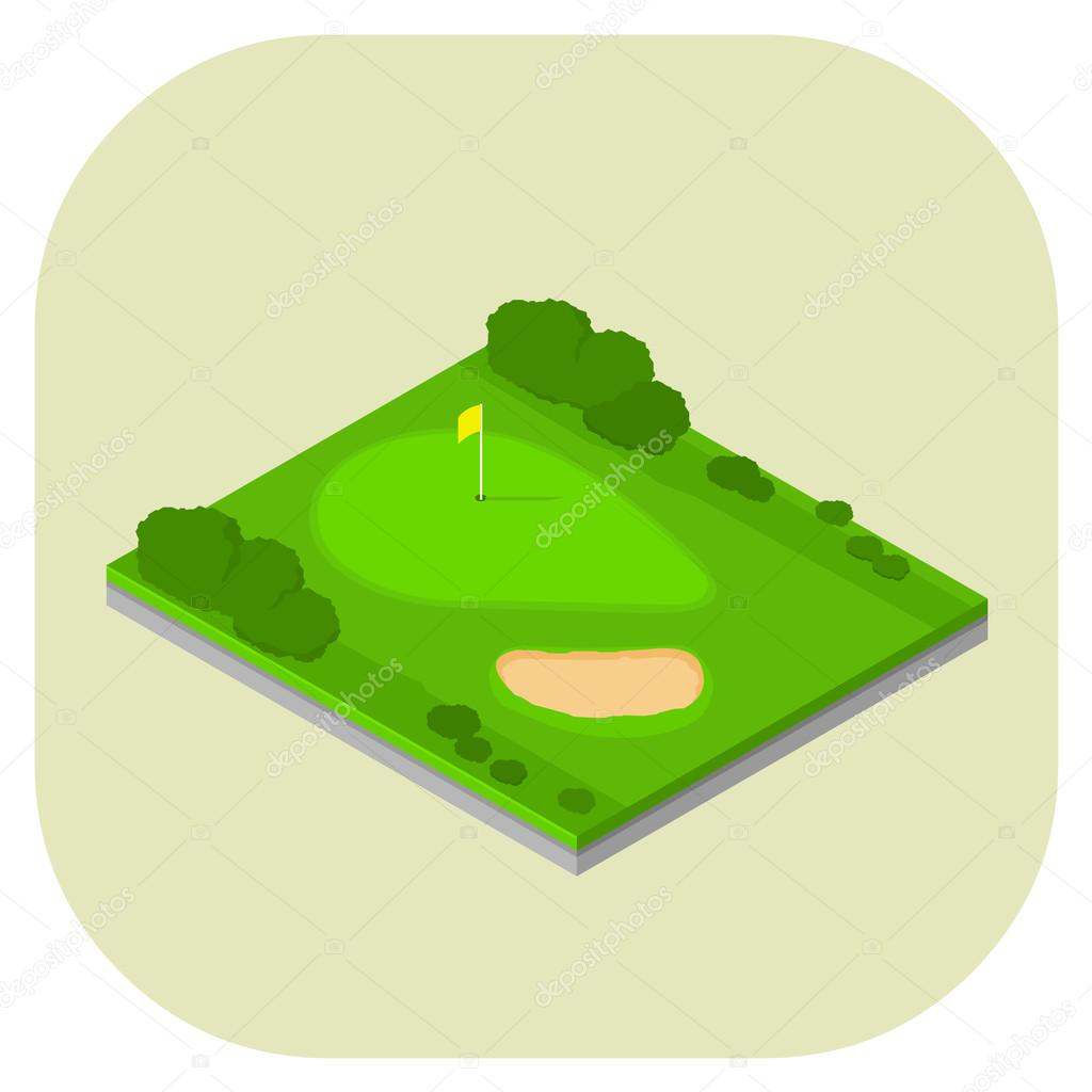 A vector illustration of an isometric golf course.