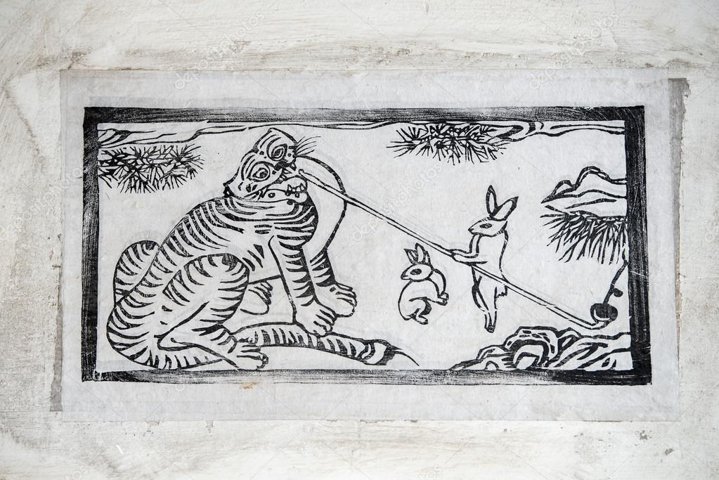 Korea Traditionelle Malerei Tiger Und Hase Stockfoto Studiojh