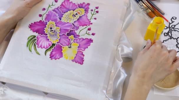 Batik Process: Artist paints on Fabric, Batik-making.