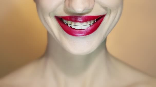 Beautiful Smiling Girl with Retainer for Teeth, Close-up, with Red Lips