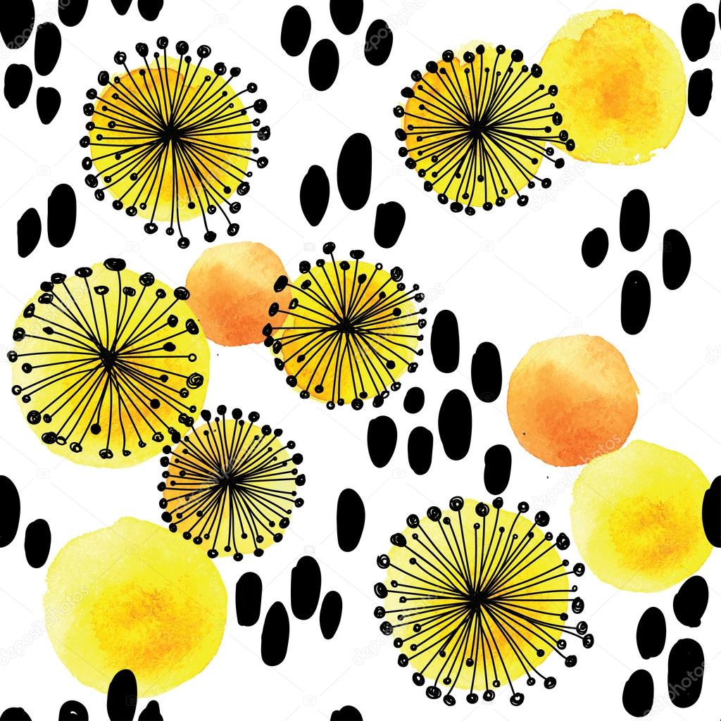 Summer seamless pattern with blooming dandelions .