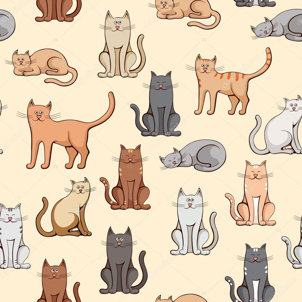 varios gatos de patrones sin fisuras — Archivo Imágenes Vectoriales ...