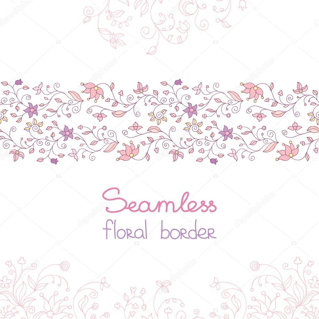 Seamless Floral Border Pink Flowers Stock Vector Homari 95367242