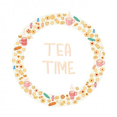 Circle frame of tea and sweets