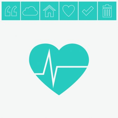 Heart pulse beat vector icon. Flat blue icon. stock vector