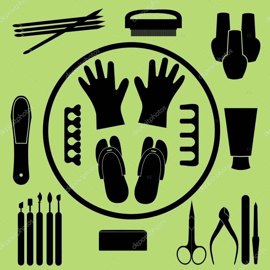 Vector conjunto de herramientas de manicura, cosméticos, esmalte de ...