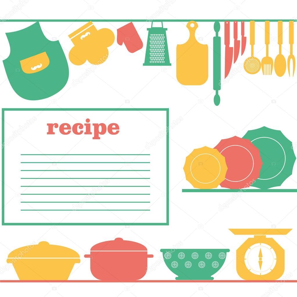 Vector el diseño de la página de recetas. Página de libro cocina ...