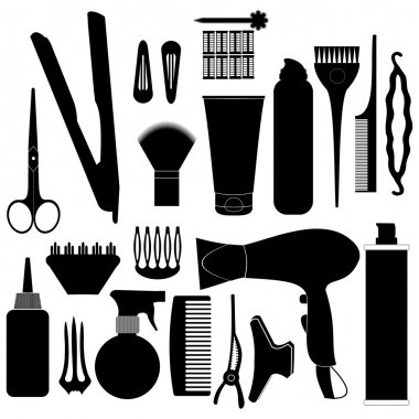 Hairdressing related symbol. Vector set of accessories for hair. stock vector
