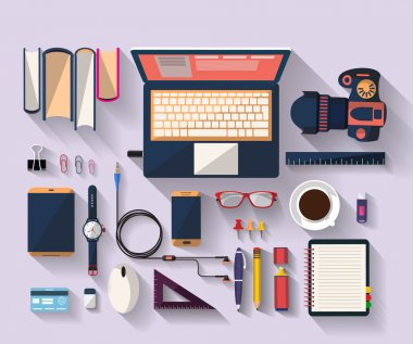 Flat design of place of work - Top view of desk that have one laptop and many others objects (digital tablet,smart-phone, ruler, headphone...). the objects are arranged. the image represent a place of work, business concept, freelance work. stock vector