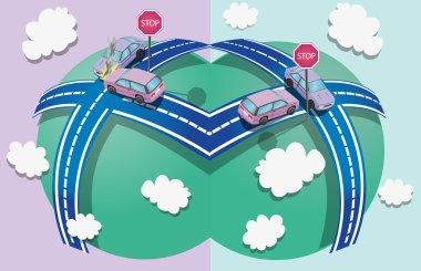 Illustration of cars crashes