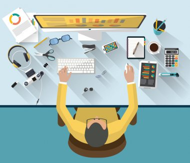 Flat design of business concept and work concept - Top view of place of work that contain man working on a desktop - the desk contain a set of objects (camera, glasses, pens, agenda....) - the illustration present also a bright ideas , creativity. stock vector