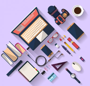 Flat design - Top view of desk that have one laptop and many others objects (digital tablet,smart-phone, ruler, headphone,...). the objects are arranged and inclined. the image represent a place of work, business concept. nice colors in modern style. stock vector