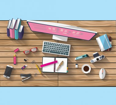 Flat design - place of work - Top view of desk of wood that have one laptop and desktop and many others objects (documents,smart-phone, tablet,...). the image represent a place of work and business concept. the image has a beautiful colors in modern stock vector