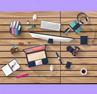 Flat design - place of work - Top view of desk of wood that have laptop and desktop and many others objects (documents,smart-phone, tablet,...). the image represent a place of work and business concept. the image has a beautiful colors in modern stock vector