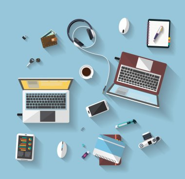Flat design - place of work - Top view of desk that have two laptop and many others objects (documents,smart-phone, tablet,..). the image represent a place of work, business concept. , bright idas. the image has a beautiful colors in modern style. stock vector