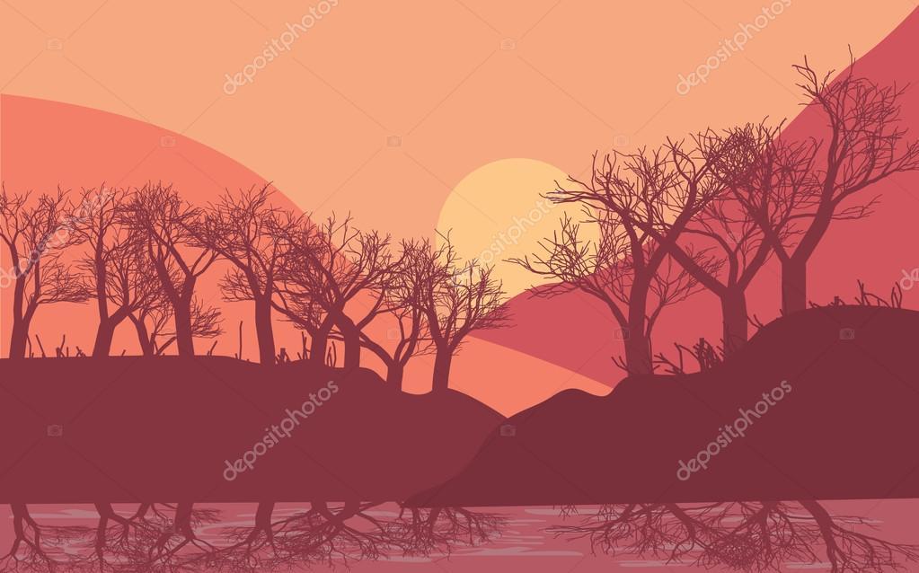 Ilustración De Amanecer O Atardecer En Bosque Y Montaña