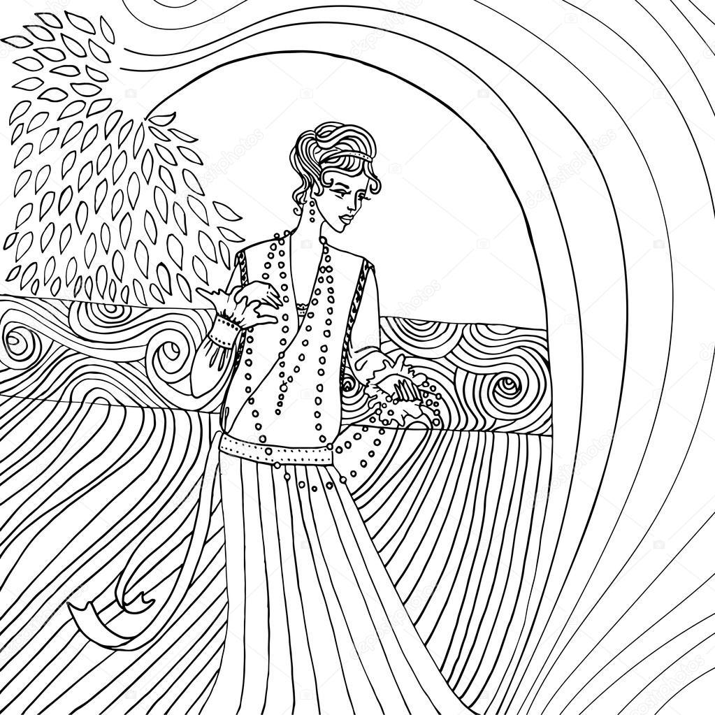 Uncolored hermosa mujer de moda. Estilo retro. Libro de colorear en ...
