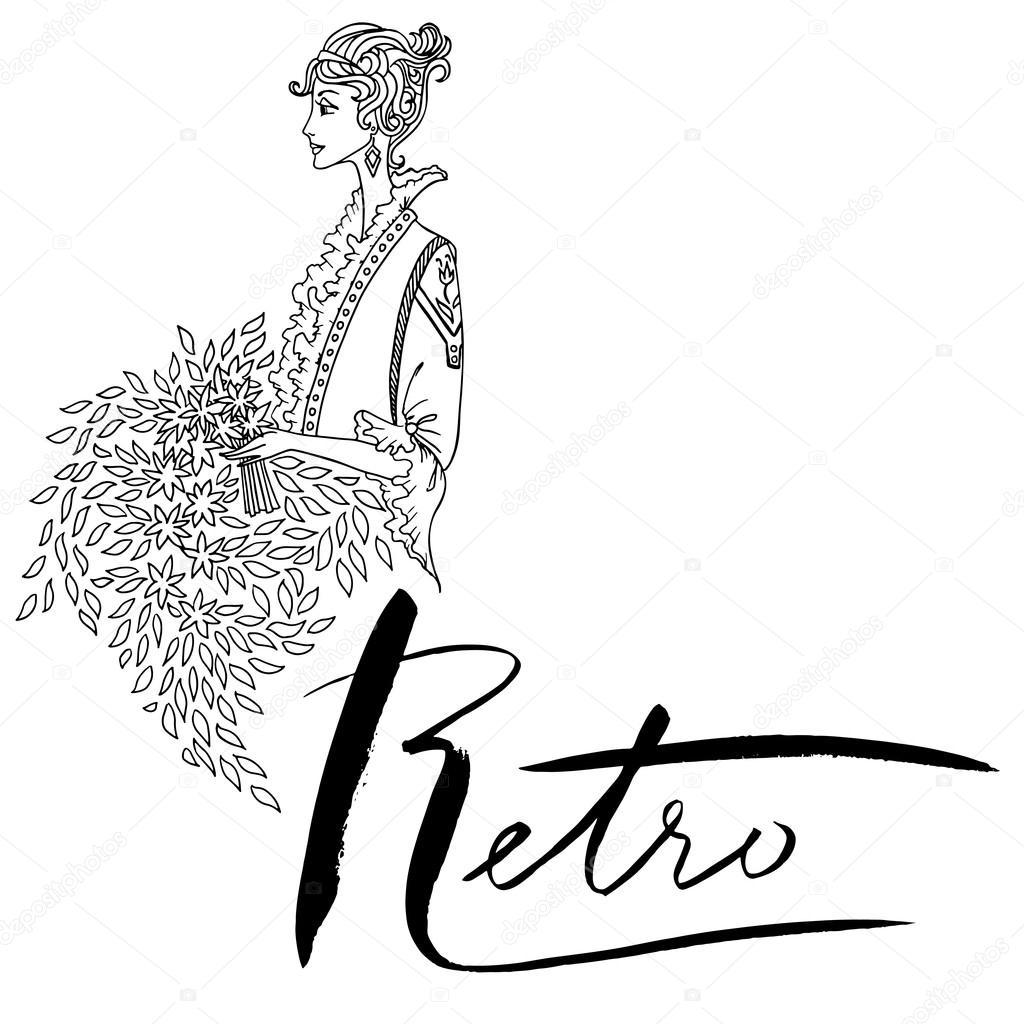 Uncolored hermosa mujer de moda. Estilo vintage. Libro de colorear ...
