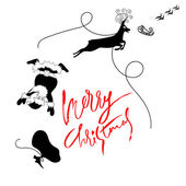 Santa Claus fall from sleigh with harness on the reindeer. Black and white vector illustration. Chtistmas lettering