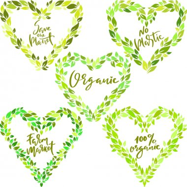 Set of green ecology heart leaves frames. Eco style templates. Modern lettering. Vector illustration icon