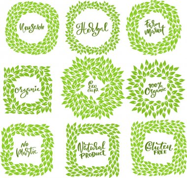 Set of ecology green leaves frames. Eco style templates. Modern lettering. Vector illustration icon