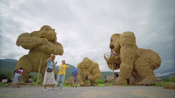 Chiang Mai, Thajsko - 1. listopadu 2020 - Turisté navštíví Huay Thung Tao s Straw Gorilla Sculptures Area 1. listopadu 2020 v Chiang Mai, Thajsko