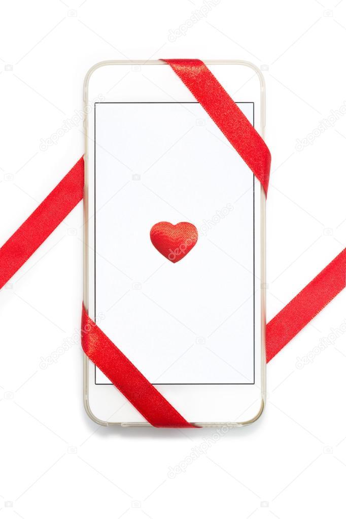 Portable Blanc Avec Coeur Rouge Et Ruban Photo