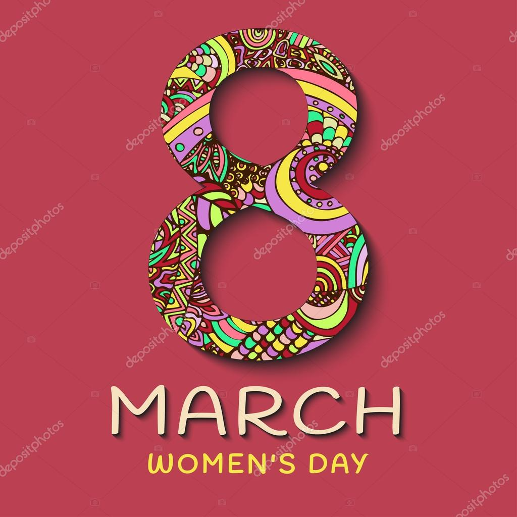 8 March Womens Day Abstract Floral Greeting Card Ornaments In The