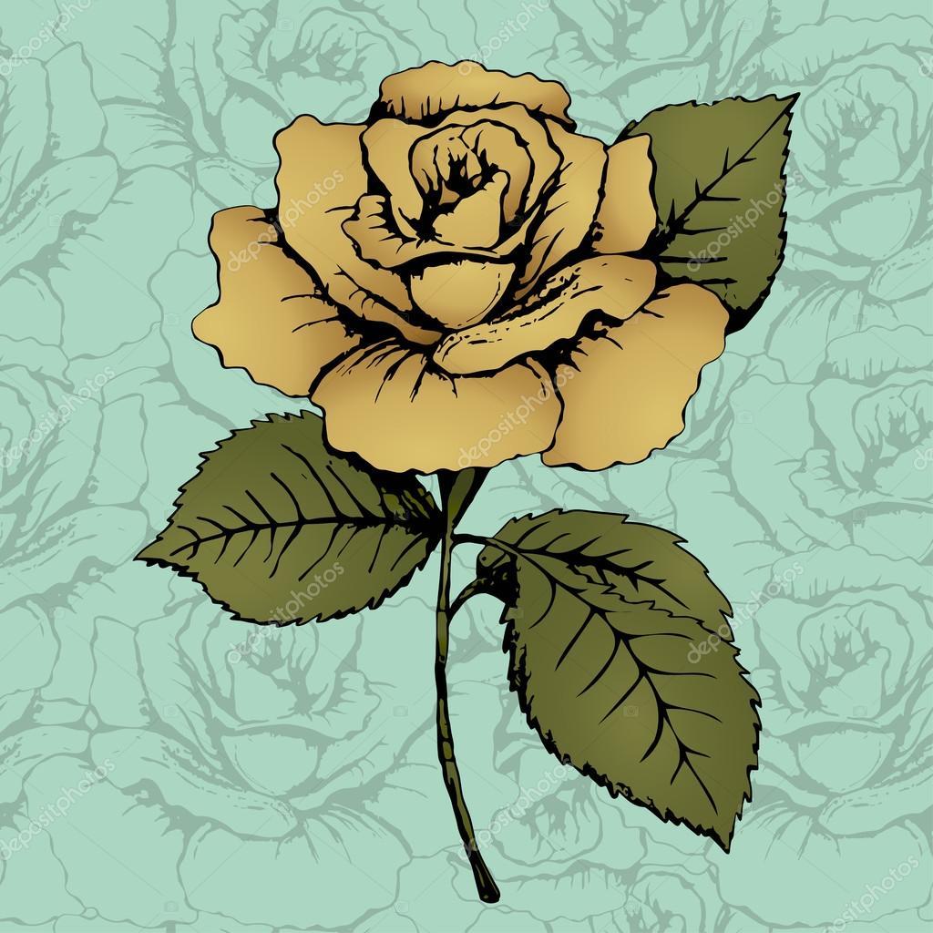 Gold rose flower. Hand drawing. Bud, stem and leaves. Blue background with ornate patterns. Card, print, decor element, textile design, fabric design, addition, decoration. Vector illustration