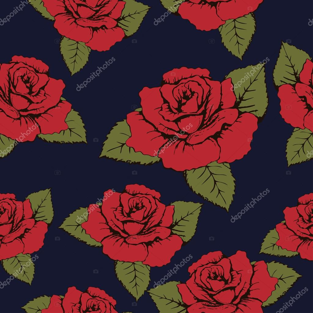 Seamless pattern of red flowers roses, texture. Red buds, petals, green leaves on a blue background. Wallpaper, paper, wrapper, packaging, fabric design, textile print, decor element, decoration
