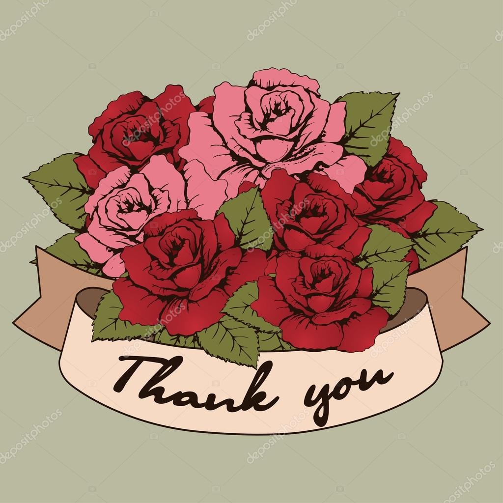 Thank you banner vintage bouquet of roses flowers with a curved thank you banner vintage bouquet of roses flowers with a curved ribbon for your text greeting card invitation recognition communication gratitude izmirmasajfo
