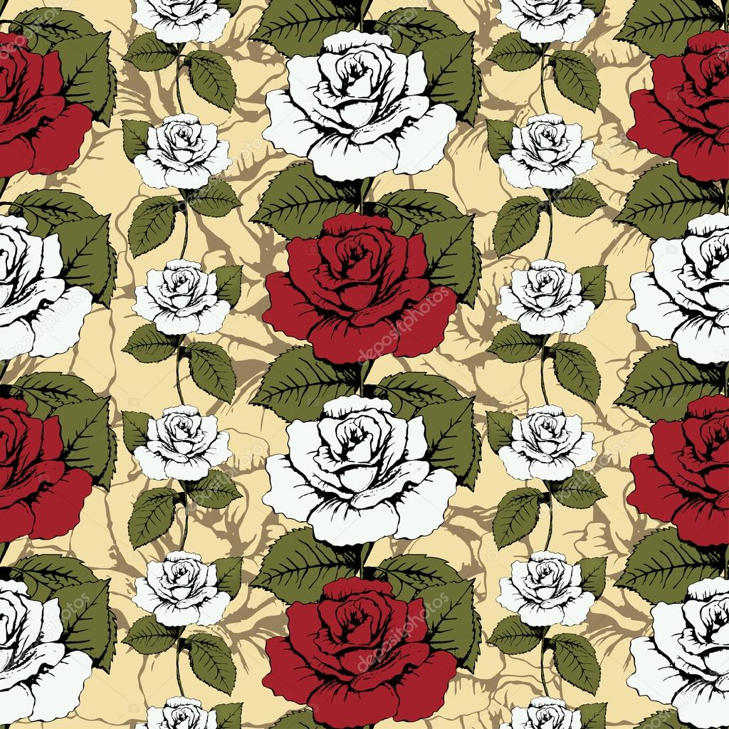 Seamless pattern of flowers roses. Red and white roses Woven, ornate. Yellow background with flowery patterns. Twisted buds, leaves, stems. Wallpaper, wrapper, textile print, decor element, decoration