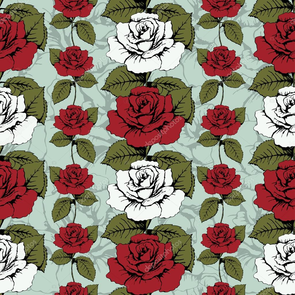 Seamless pattern of flowers roses. Red and white roses Woven, ornate. Blue background with flowery patterns. Twisted buds, leaves, stems. Wallpaper, wrapper, fabric design, decor element, decoration
