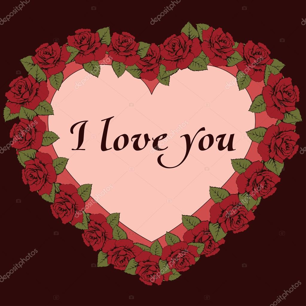 Ich liebe dich Fahne. Vintage-Rahmen ein Herz mit Rosen Blumen und ...