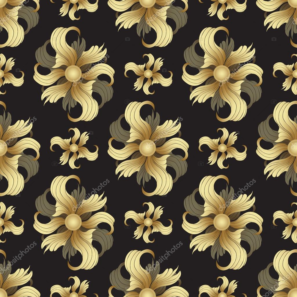 Abstract golden flowers, seamless pattern  Golden buds, curled
