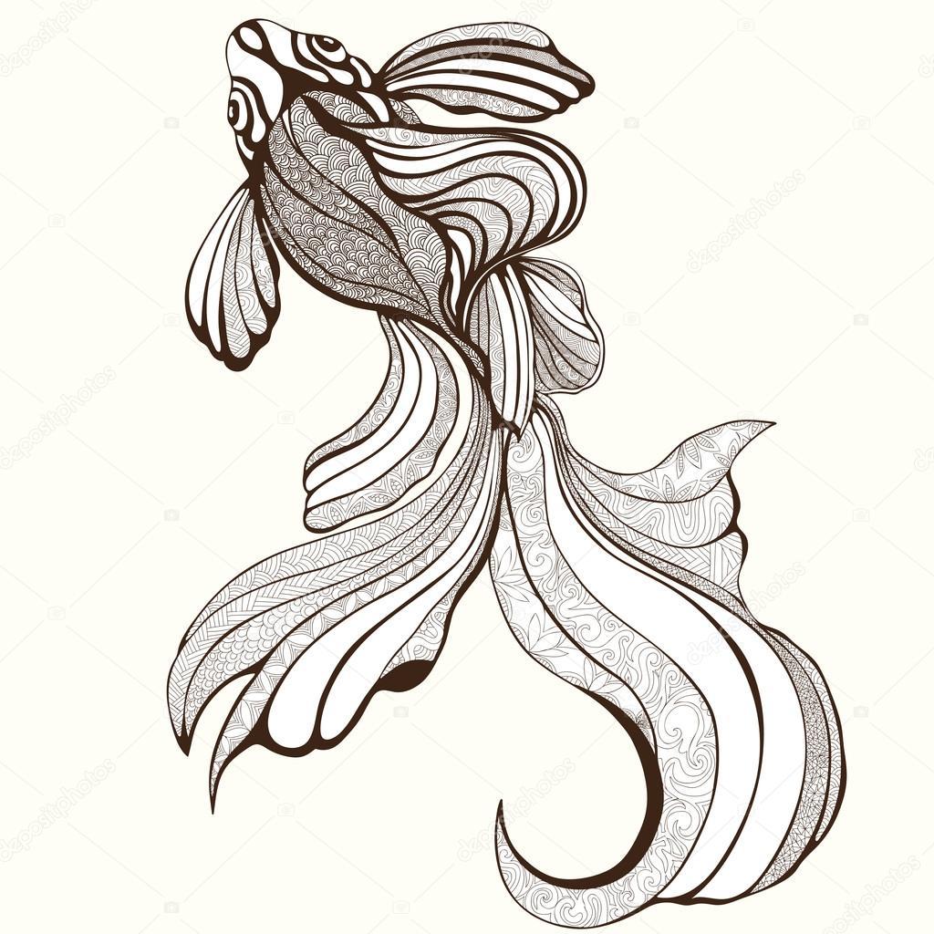 Soyut Balık Boyama Kroki El çizimi Grafik Zarif Balık Ve