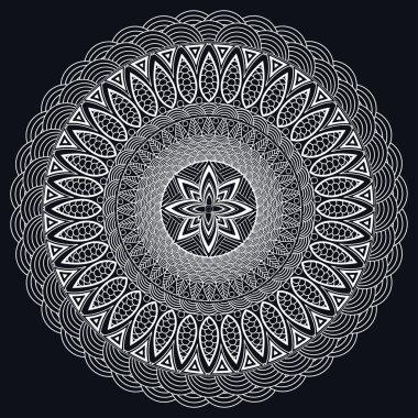 Mandala monochrome. Boho style, hippie jewelery. Round Ornament Pattern. Vintage decorative elements. East pattern, Arabic, Indian. Can be used to design fabrics, print, tattoo. Vector illustration