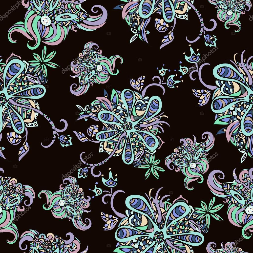 Nahtlose Muster Abstrakt Blumen Bunte Doodle Vor Einem Dunklen