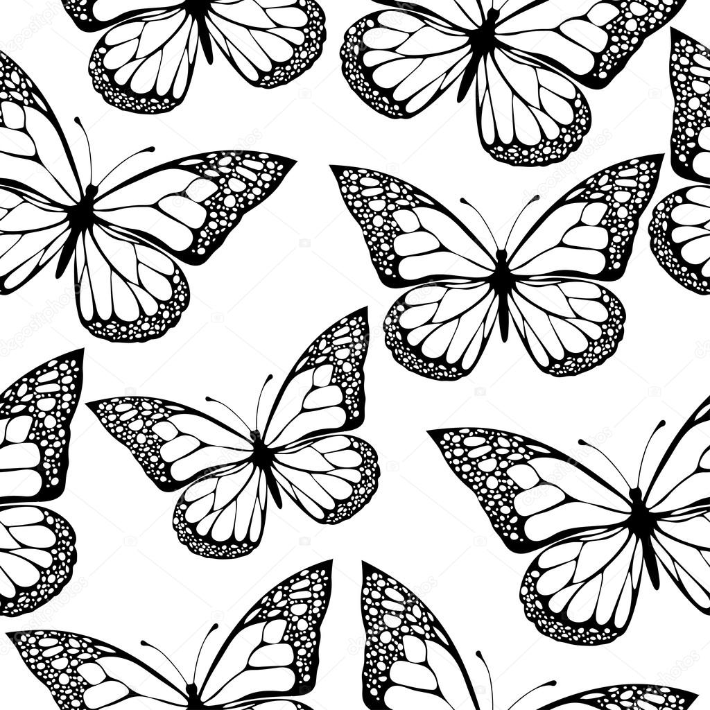 butterflies seamless pattern monochrome coloring book black and