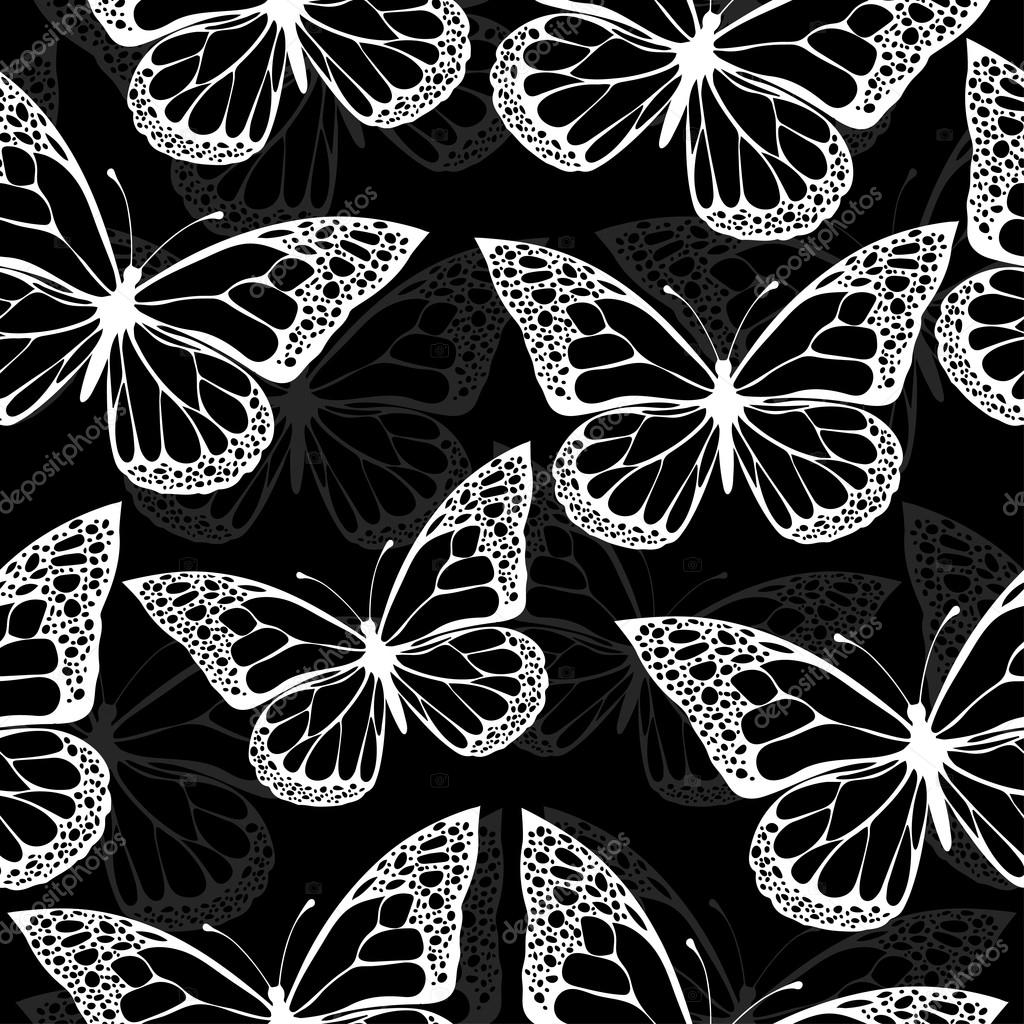 Black And White Butterfly Wallpaper Butterflies Seamless Pattern Monochrome Coloring Book Black And White Illustration In Boho Style Hippie Bohemian Black And White Butterfly Wings On Black Background Textile Fabric Wallpaper