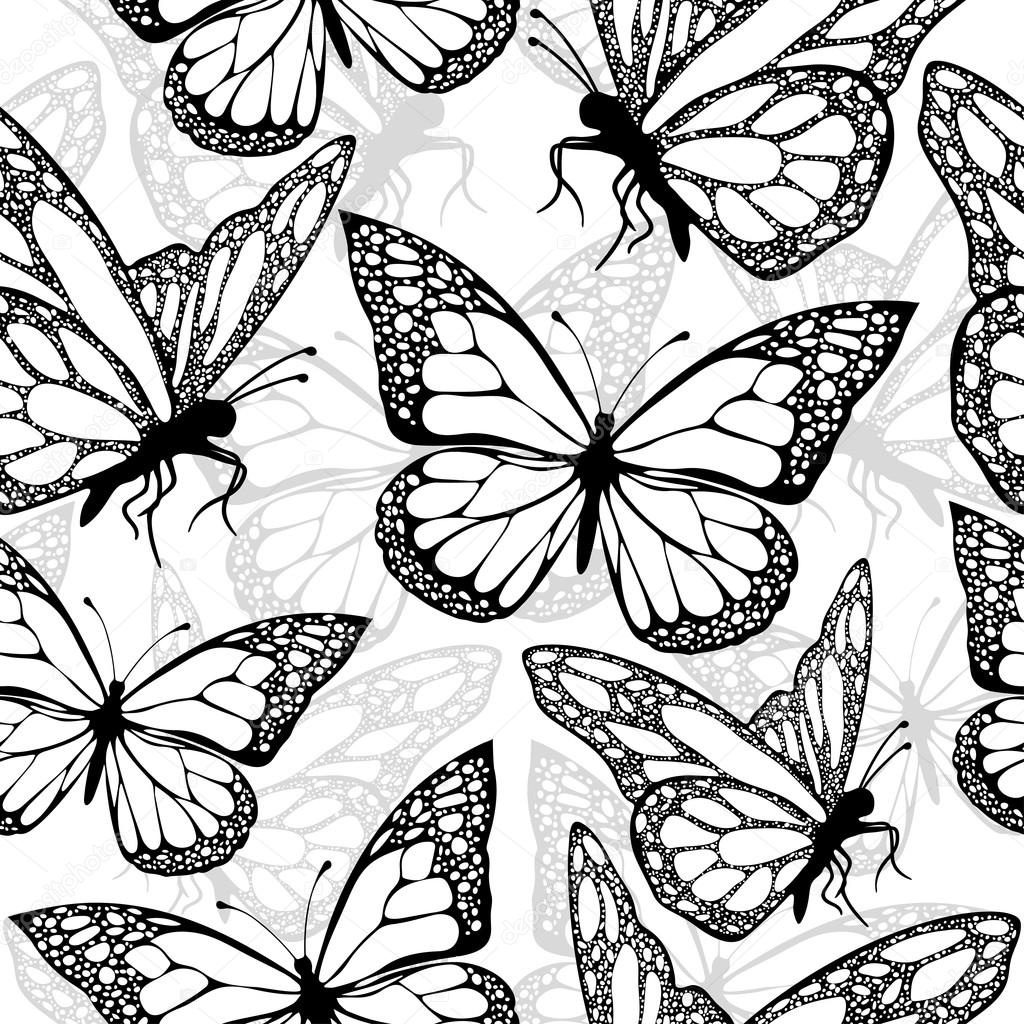 Butterflies Seamless Pattern Monochrome Coloring Book