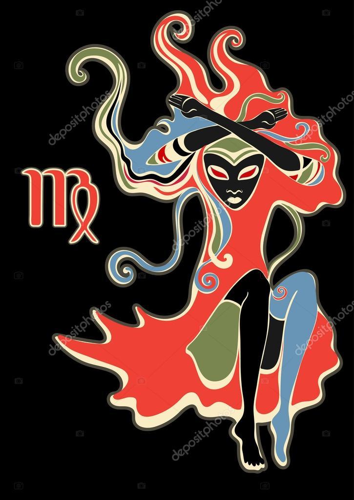 Signe Du Zodiaque Vierge Dame De Pique Psychedelique Abstract