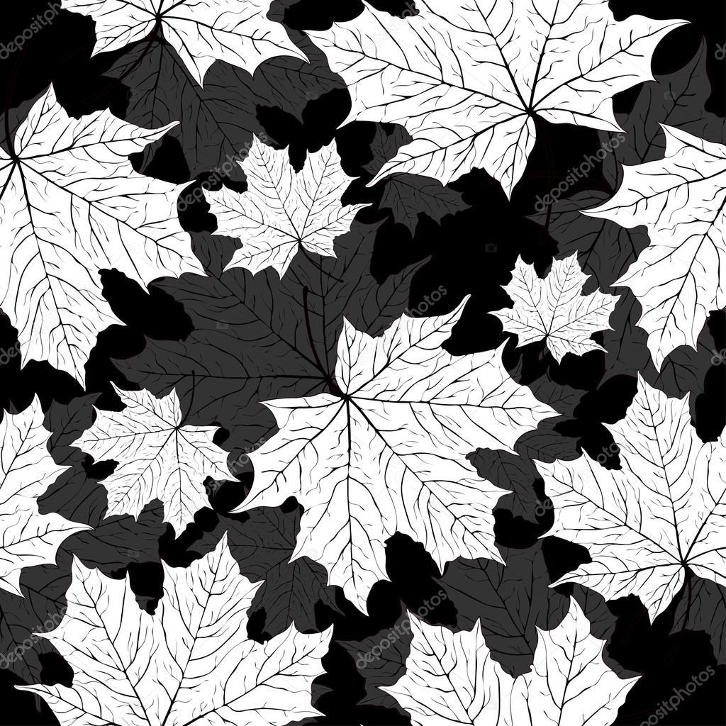 Hojas de patrones sin fisuras vector de fondo for Papel pintado blanco y negro