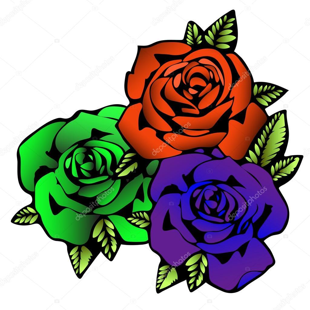 rosa flor desenho de tatuagem três flores rosas em cores