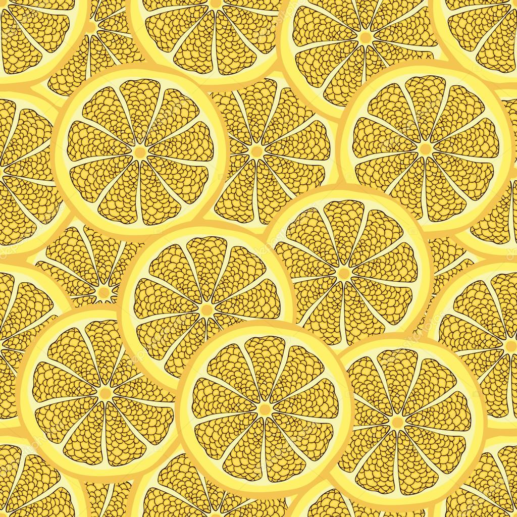 Slices Of Lemon In A Cut Seamless Pattern Fruit Background