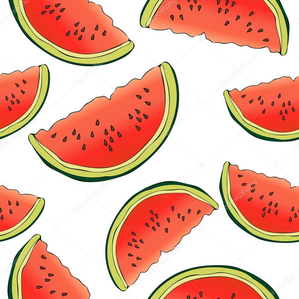 Slices Of Watermelon Seamless Pattern Berry Background Painted