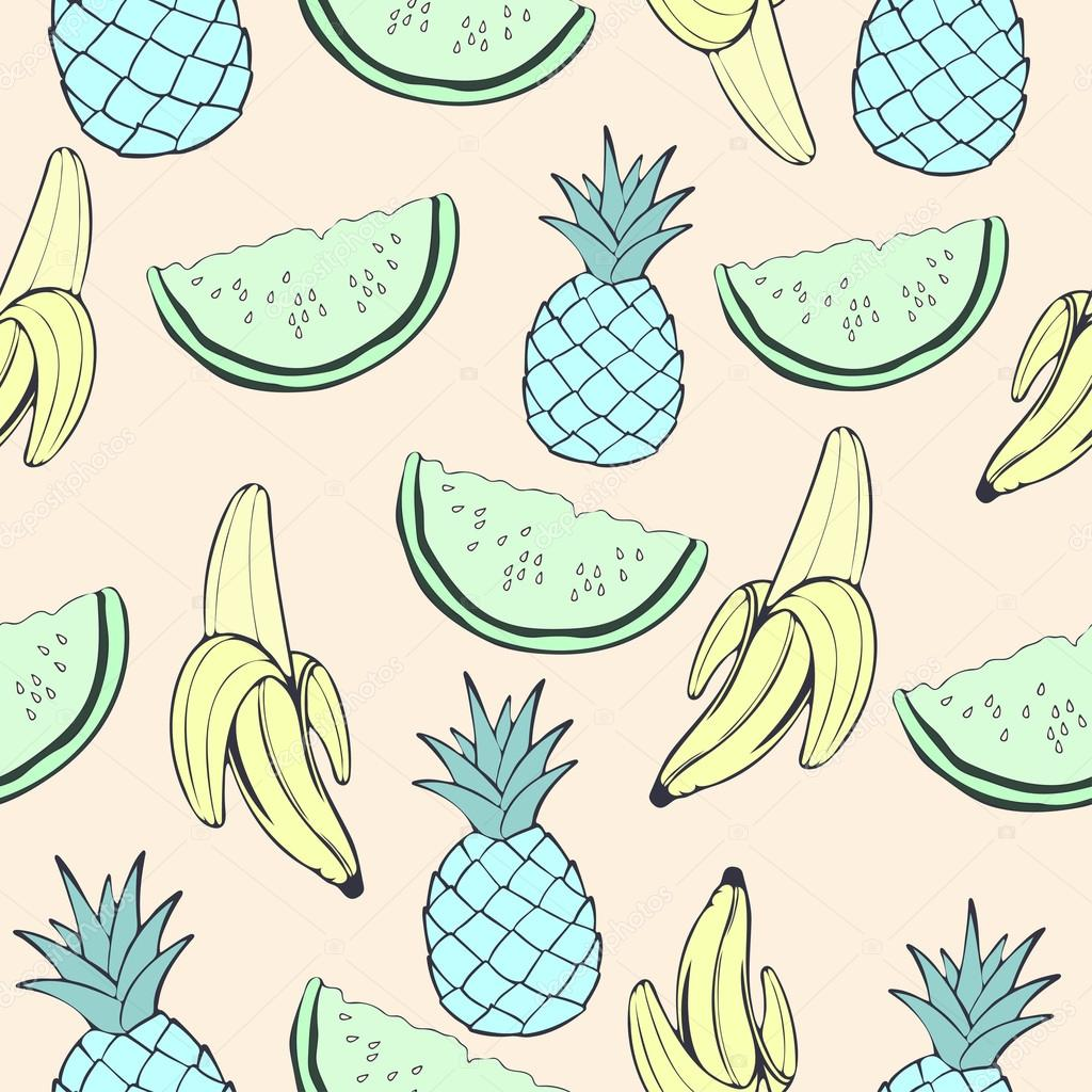 Abstract Blue Pineapple Green Watermelon And Banana Fruit In Unusual Creative Colors Vintage