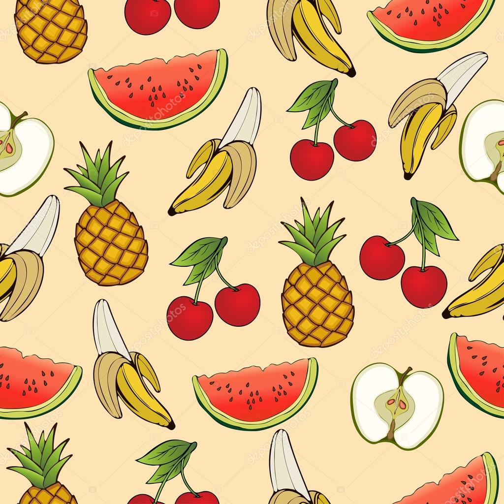 Amazing Wallpaper Macbook Pineapple - depositphotos_124273488-stock-illustration-banana-apple-pineapple-cherry-watermelon  Perfect Image Reference_866551.jpg